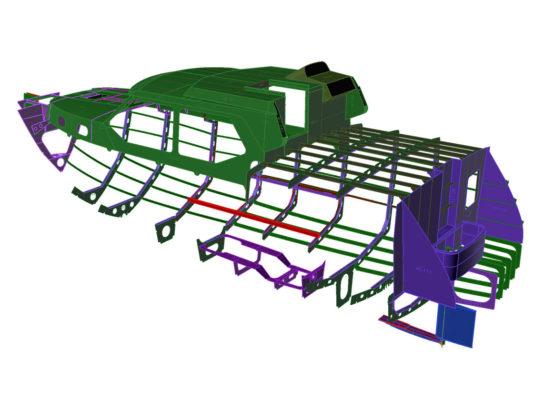 3D-модель конструкции корпуса моторной яхты Melody Bay 1000