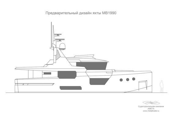 Предварительный дизайн яхты Melody Bay 1990 - схема