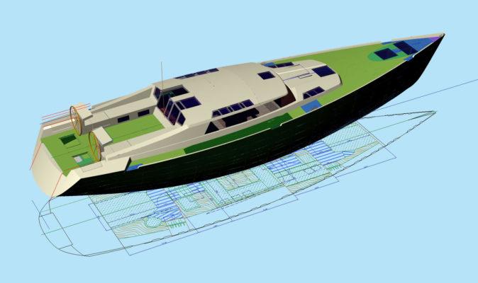 3D модель яхты Tobago 57