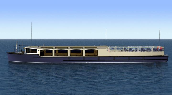 3D модель экскурсионного пассажирского судна проекта 82880, вид сбоку