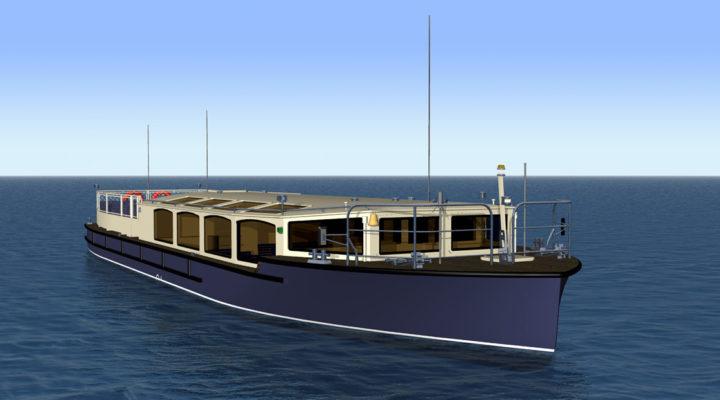 3D модель экскурсионного пассажирского судна проекта 82880, вид спереди