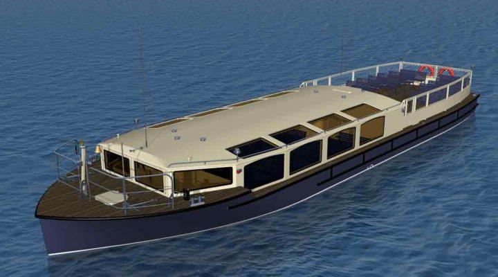 3D модель экскурсионного пассажирского судна проекта 82880, вид сверху