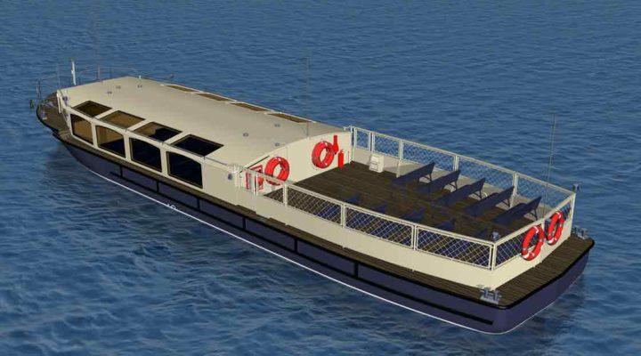 3D модель экскурсионного пассажирского судна проекта 82880, вид сзади