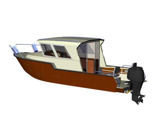 3д-модель Iron Boat 740 с подвесным мотором