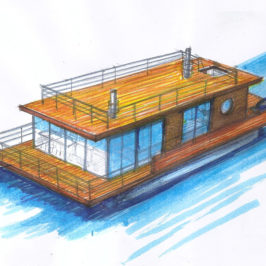 Концептуальный эскиз дома на воде
