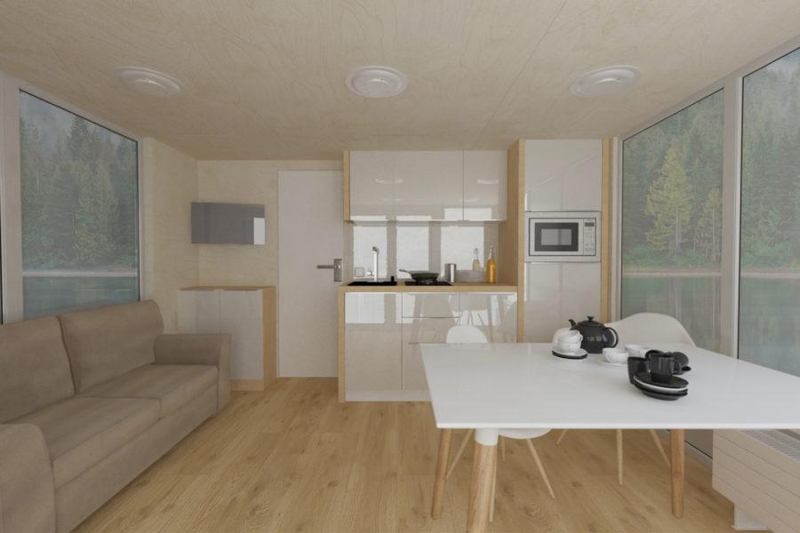 Рендер проекта комнаты дома на воде