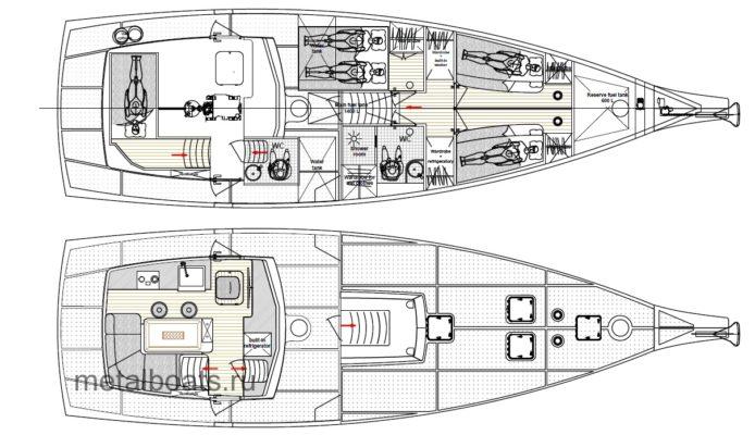 Планировка стальной парусной яхты 5 элемент