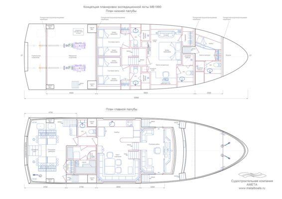 Концепция планировки экспедиционной яхты Melody Bay 1990 - схема