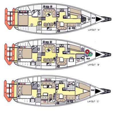Варианты общего расположения яхты Voyager DS 440