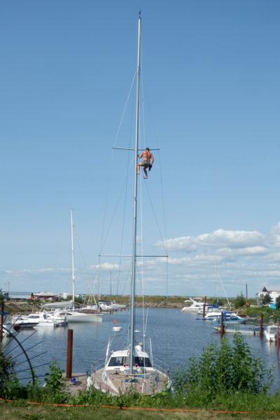 Работы на мачте парусной яхты