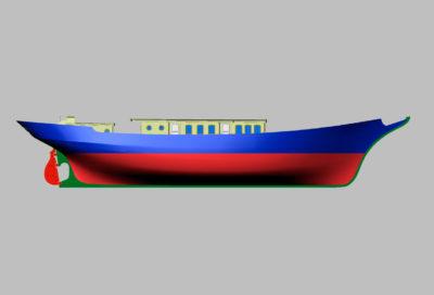 3D модель двухмачтовой парусной шхуны