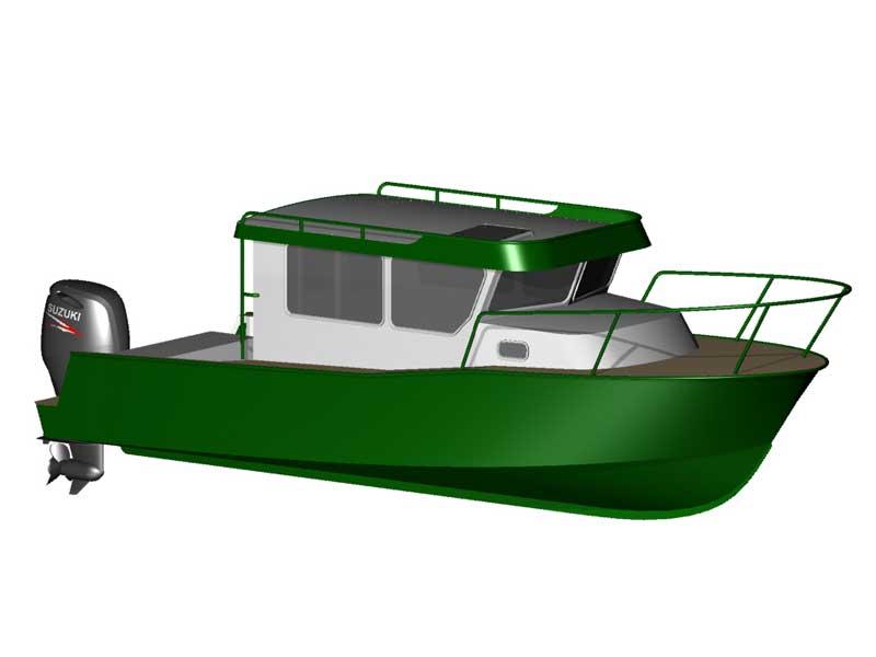 3d модель версии iron boat 740 с обратным наклоном стекол рубки