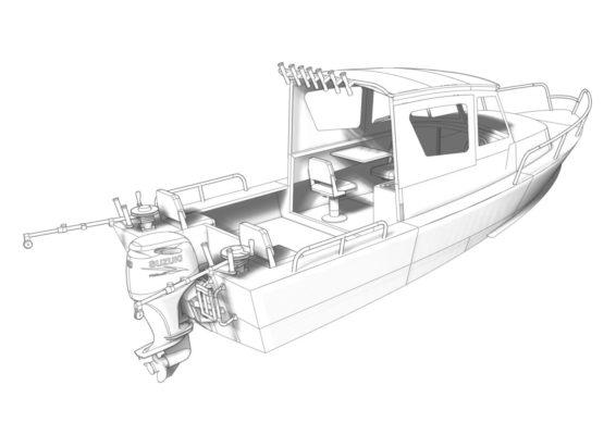 3D модель Iron Boat 700 - вид сзади
