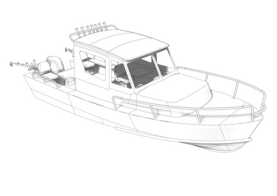 3D модель Iron Boat 700 - вид спереди