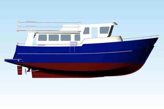 3д модель повой яхты на бахе проекта TY-43