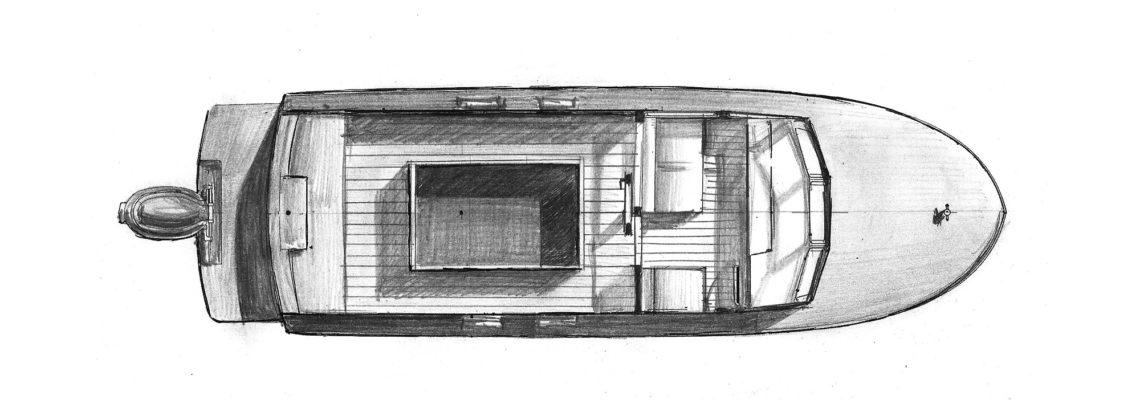 Эскиз пассажирского катера MB-800 Fisher
