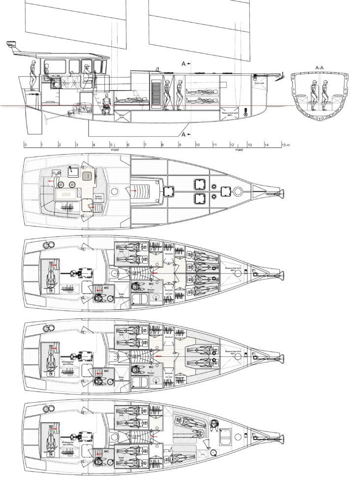 """Планировка парусной яхты """"5 Элемент"""""""